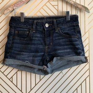 AEO • women's 2 shortie denim blue jean shorts